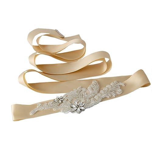 TOPQUEEN Crystal fajas correa de la boda de las mujeres nupciales de los cinturones de hoja para la ...