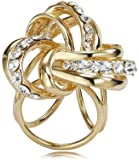 Fashion Wang placcato oro di lusso piccola sciarpa ad anello per le donne 3 Anelli con accessori Fiore pavimenta strass Diamante Filigrana 3D per le donne BH00045