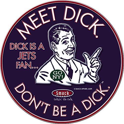 Smack Apparel NE Football Fans. Meet Dick (Anti-Jets) Navy Embossed Metal Man Cave - Sign Neon New Patriots England