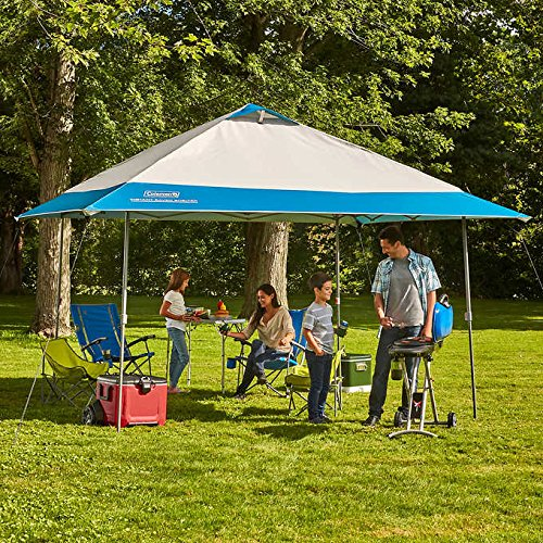 Coleman 13′ x 13′ Instant Eaved Shelter Pop Up Canopy Gazebo Tent Shade in Blue, Perfect For Your Backyard, Party, Outdoor Event, Outing, Beach