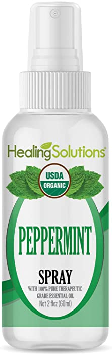 Organic Peppermint Spray – Water Infused with Peppermint Essential Oil – Certified USDA Organic - 2oz Bottle by Healing Solutions