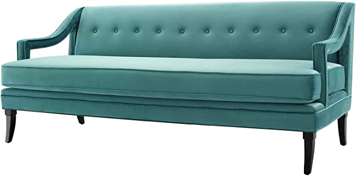 Modern Contemporary Urban Design Living Room Lounge Club Lobby Tufted Sofa Velvet Fabric Aqua Blue Furniture Decor