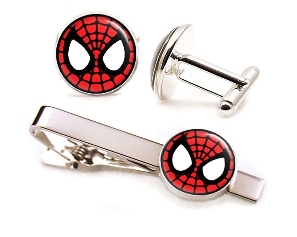 Spiderman Cufflinks, Spider-Man Tie Clip Tack, Avengers Jewelry, Superhero Wedding Party Gift, Groomsmen Geek Gift