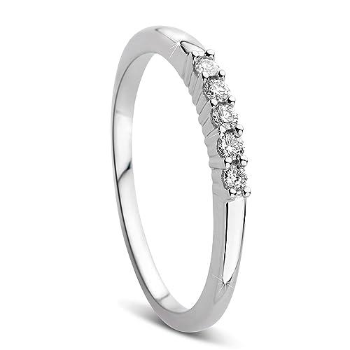 9d16ce6331 Orovi Damen-Ring Memoire Hochzeitsring Weißgold 9 Karat (375) Diamant 0.10  carat Verlobungsring