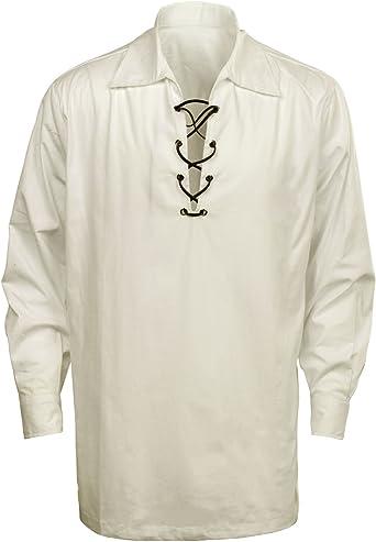 CUSFULL Camisa Escocesa de Hombre Estilo Jacobite Kilt Medieval Manga Larga Disfraz Clasico de Edad Media de Escocia Ropa Vintage: Amazon.es: Ropa y accesorios