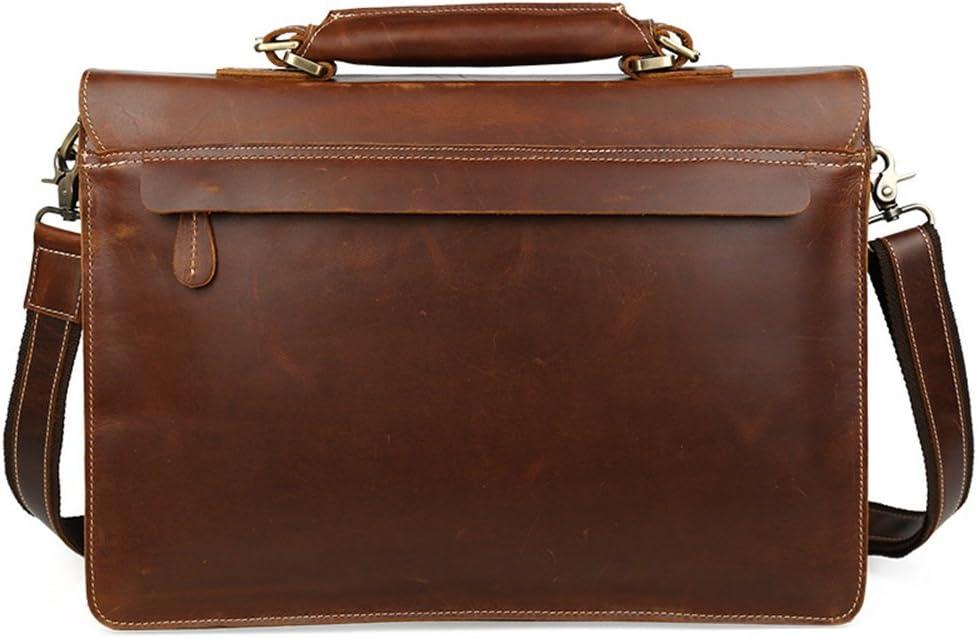 Kindlov-BG Men Laptop Briefcase Bag Dark Brown Retro Style Portable Leather Messenger Bag Handbag Business Briefcase 15.6 Notebook for School Travel