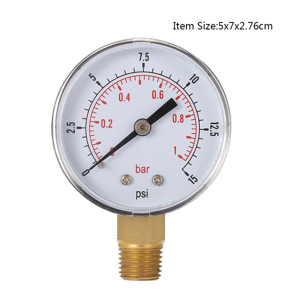 Leoboone Mini Medidor de Baja presi/ón para Combustible Aire Aceite o Agua 50 mm 0-15 PSI 0-1 Bar 1//4 Pulgada BSPT TS-50 Medidor de Doble Escala