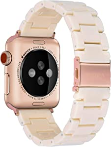 V-MORO Resin Strap Compatible with Apple Watch Band 42mm 44mm Series 5/4/3/2/1 Women Men with Stainless Steel Buckle, Apple iWatch Replacement Wristband Bracelet (Ivory White, 42mm/44mm)