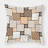 Cotton Linen Throw Pillow Cushion Cover,Arabian,Colorful Patchwork Art Oriental Patterns Ornaments Cultural Illustration Print,Brown Cream,Decorative Square Accent Pillow Case