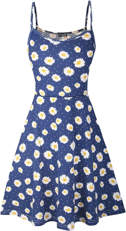 FINMYE Womens Sleeveless Floral Printed Swing Sundress Spaghetti Strap Dresses