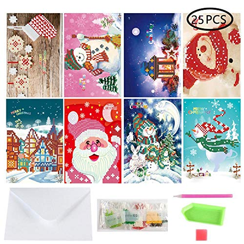 (Aolvo 25 in 1 DIY Christmas Greeting Card Diamond Painting, Creative Manual 3D Diamond Painting Full Drill Cartoon Santa Claus Postcard Kits for Festive Birthday New Year Gift (8 Packs))