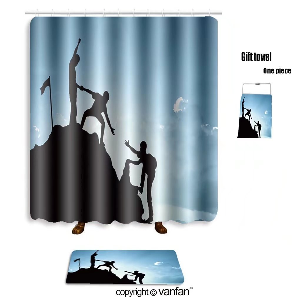 vanfan bath sets with Polyester rugs and shower curtain climbing helping team work success concept 33 shower curtains sets bathroom 66 x 72 inches&23.6 x 15.7 inches(Free 1 towel and 12 hooks)
