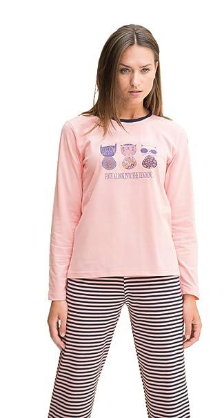 Pijama mujer entretiempo pantalón largo y manga larga (fino) Even 7862 (l)