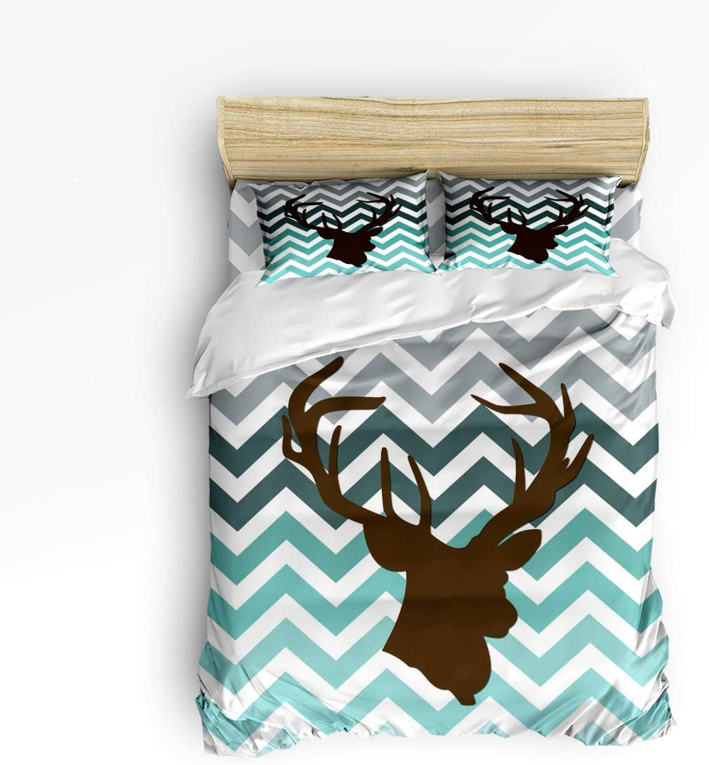 Cloud Dream Home 4 Piece Bedding Set,Teal Gray Blue Deer Chevron Zig Zag Pattern Duvet Cover Set Quilt Bedspread for Childrens/Kids/Teens/Adults Full Size