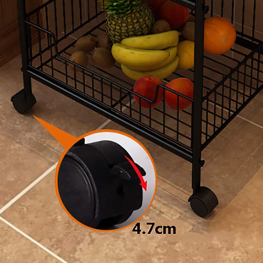 Kitchen Rack Storage Rack, Floor Multi-Layer Vegetable Seasoning Bowl Pot Storage Shelf, Multi-Function Caster(4234.5114cm) by Kitchen Cart (Image #3)