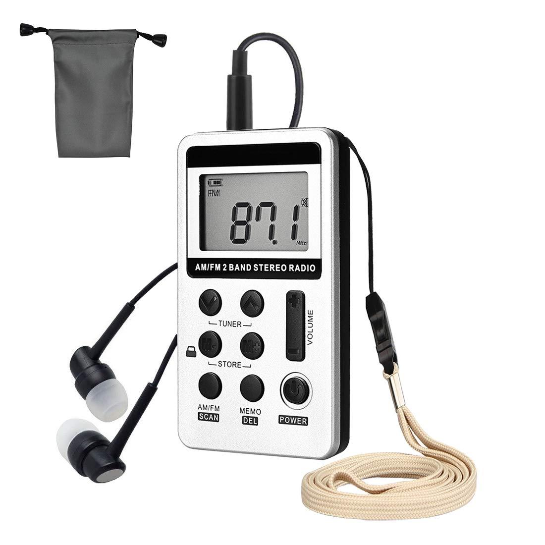 Mini Radio, Pocket Radio AM FM, Rechargeable Radio Portable, Digital Tuning Compact Radio with LCD Display&Earphone&Protective Bag (Silver)