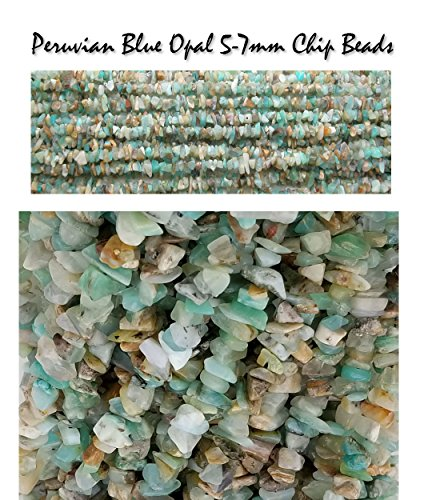 Genuine Peruvian Blue Opal 5-7mm Chip Nugget Beads, 16 inch Strand for Jewelry Making