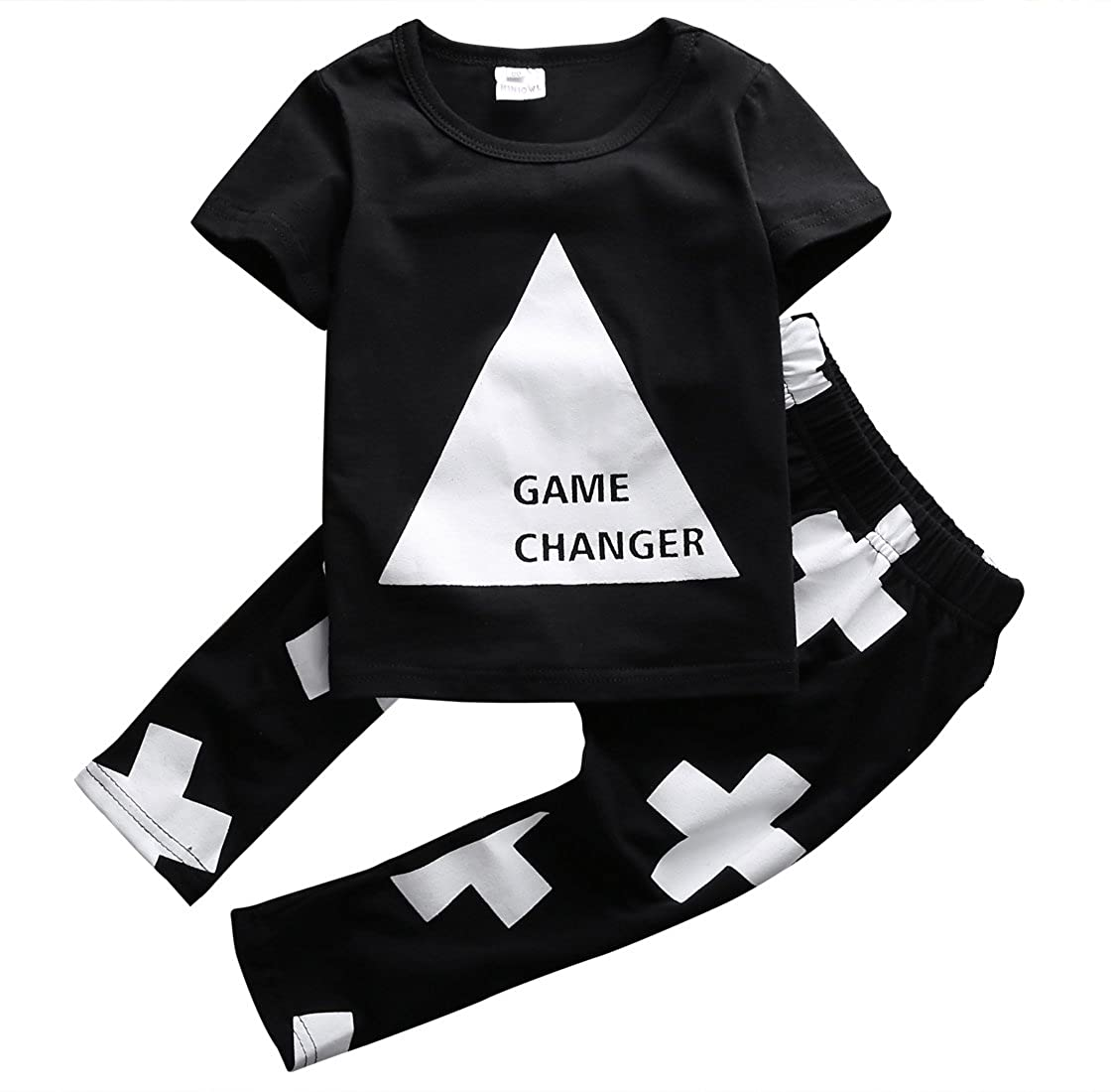 Magical Baby Little Boys Game Changer Triangle T-Shirt and Cross Print Pants Outfit