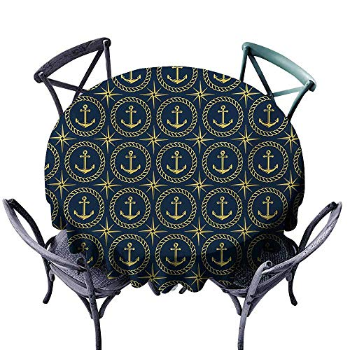 VIVIDX Anti-Fading Tablecloths,Anchor,Abstract Cruise Ship Pattern with Windrose Nautical Rope and Anchor Travel Trip,Table Cover for Kitchen Dinning Tabletop Decoratio,63 INCH,Indigo Yellow