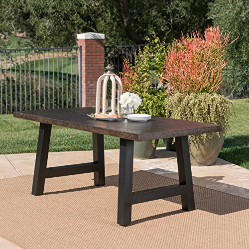 Doris Outdoor Brown Stone Finish Light Weight Concrete Dining Table Concrete Outdoor Furniture