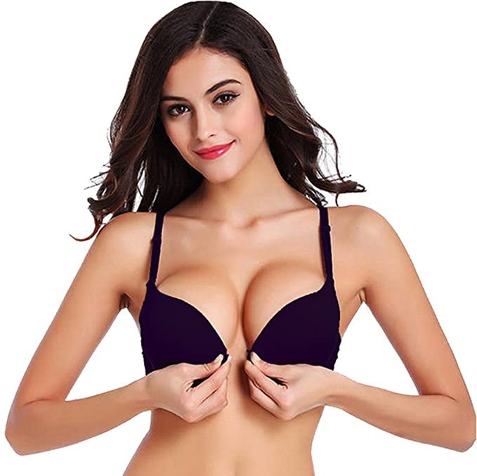 c8ace1b6cfeaa Pegaso Women s Front Closure Push-Up Bra (Black 36)  Amazon.in ...