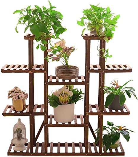 unho Estantería para Macetas 116 x 25 x 115cm Soporte de Madera para Plantas con 11 Estantes Estantería Decorativa de Flores para Jardín Exterior ...