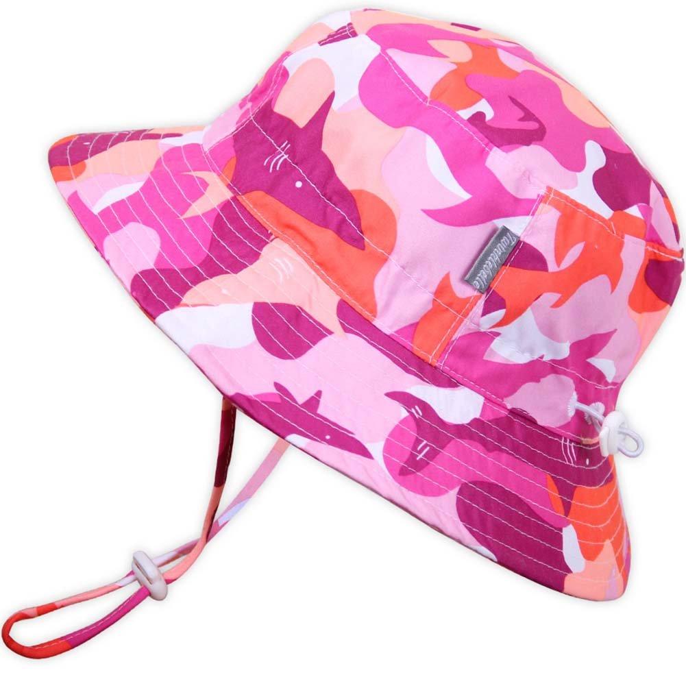 Kids 50+ UPF Bucket Sun Hat, Size Adjustable Aqua Dry ( L: 15m - 5Y, Pink Shark )