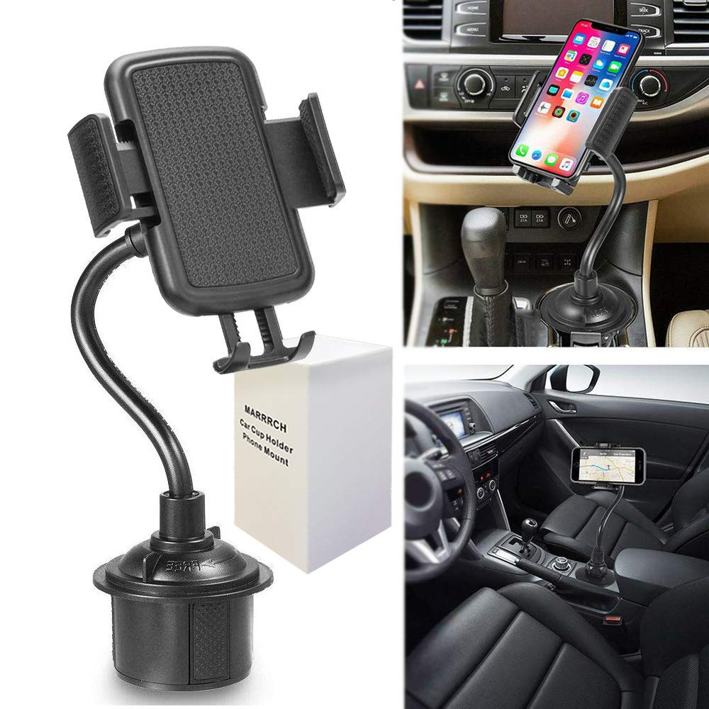 Marrrch Car Phone Mount,360 Degree [Adjustable Distance] Cup Car Phone Holder, Cell Phone Car Mount Compatible for iPhone XR Xs Max Xs X 8 7 6,Samsung Galaxy S10 S10+ S10e S9 (Black)