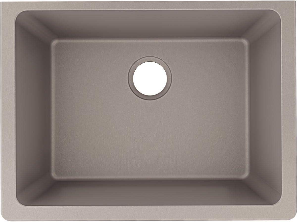 Elkay ELXU2522SM0 Quartz Luxe Single Bowl Undermount Sink, Silvermist