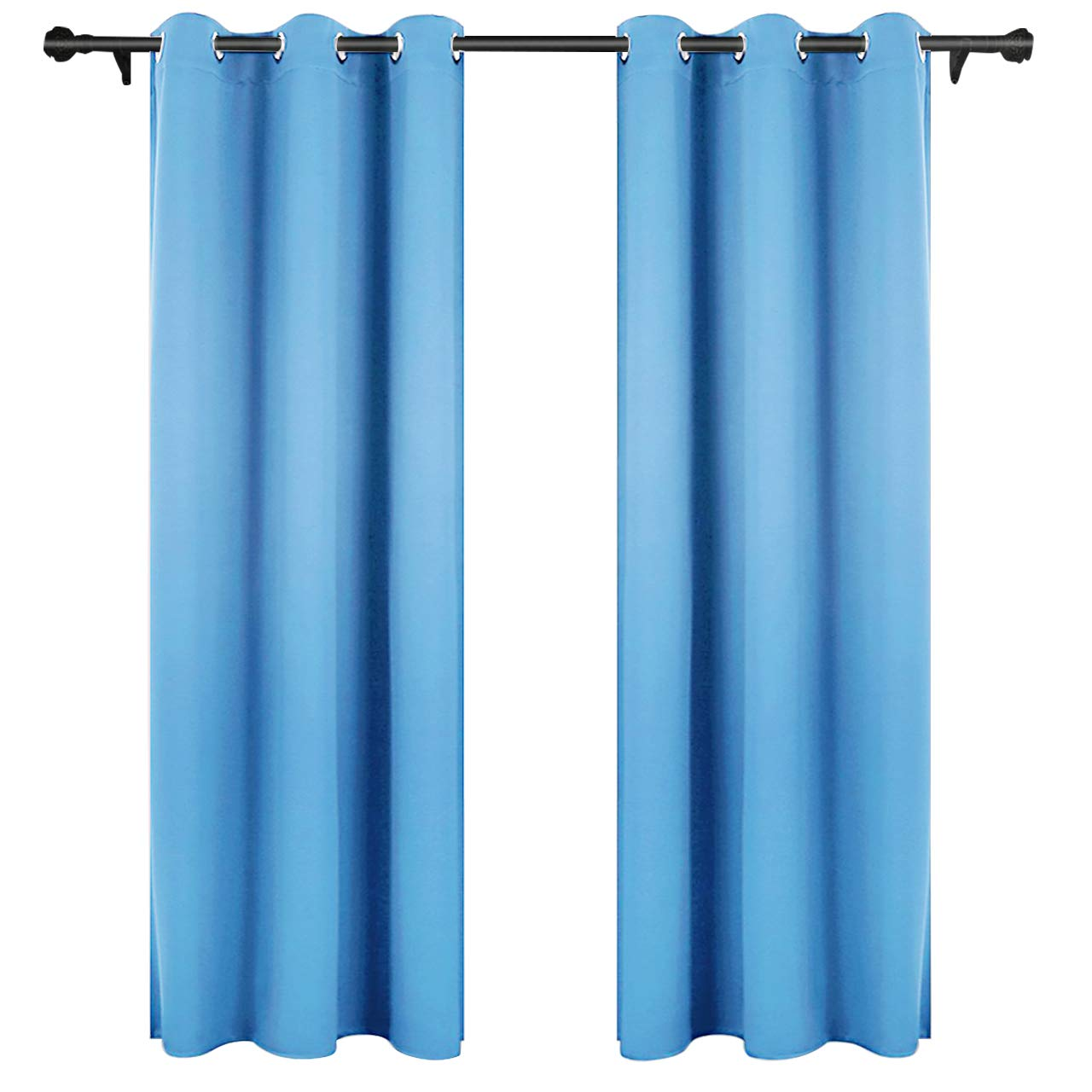 LIVINGbasics Solid Thermal Insulated Blackout Curtains for Bedroom/Living Room - 8 Grommets/Rings per Panel Room Darkening Window Curtains, Light Blue, 1 Panel (52x63 inch)