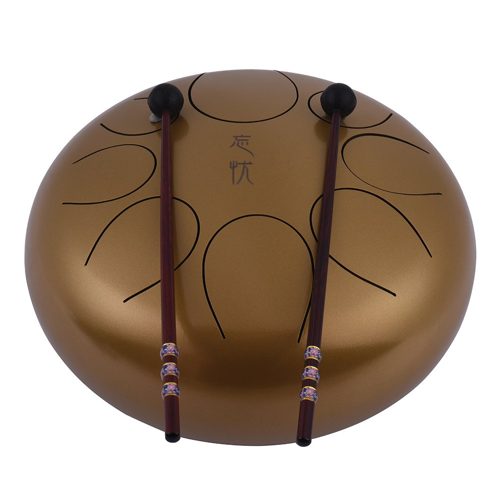 Steel Tongue Drum Muslady 10 Inch Handpan Drum Hand Drum Percussion Instrument with Drum Mallets Carry Bag Note Sticks for Meditation Yoga Zazen Sound Healing by Muslady