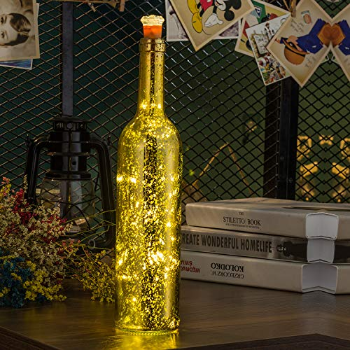 HUAFA Wine Bottle Lights (Gold Bottle), Powered by 3 Pieces LR44 Battery(Include), Decorative Lights for Party, Home Decor, Christmas, Halloween, Wedding, Bars(Warm White 1 Pack)