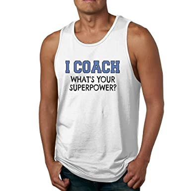 7730405fe4e2 Quliuwuda Mens I Coach Whats Your Superpower Casual Style Gym White Tank  Tops S Tank Tops
