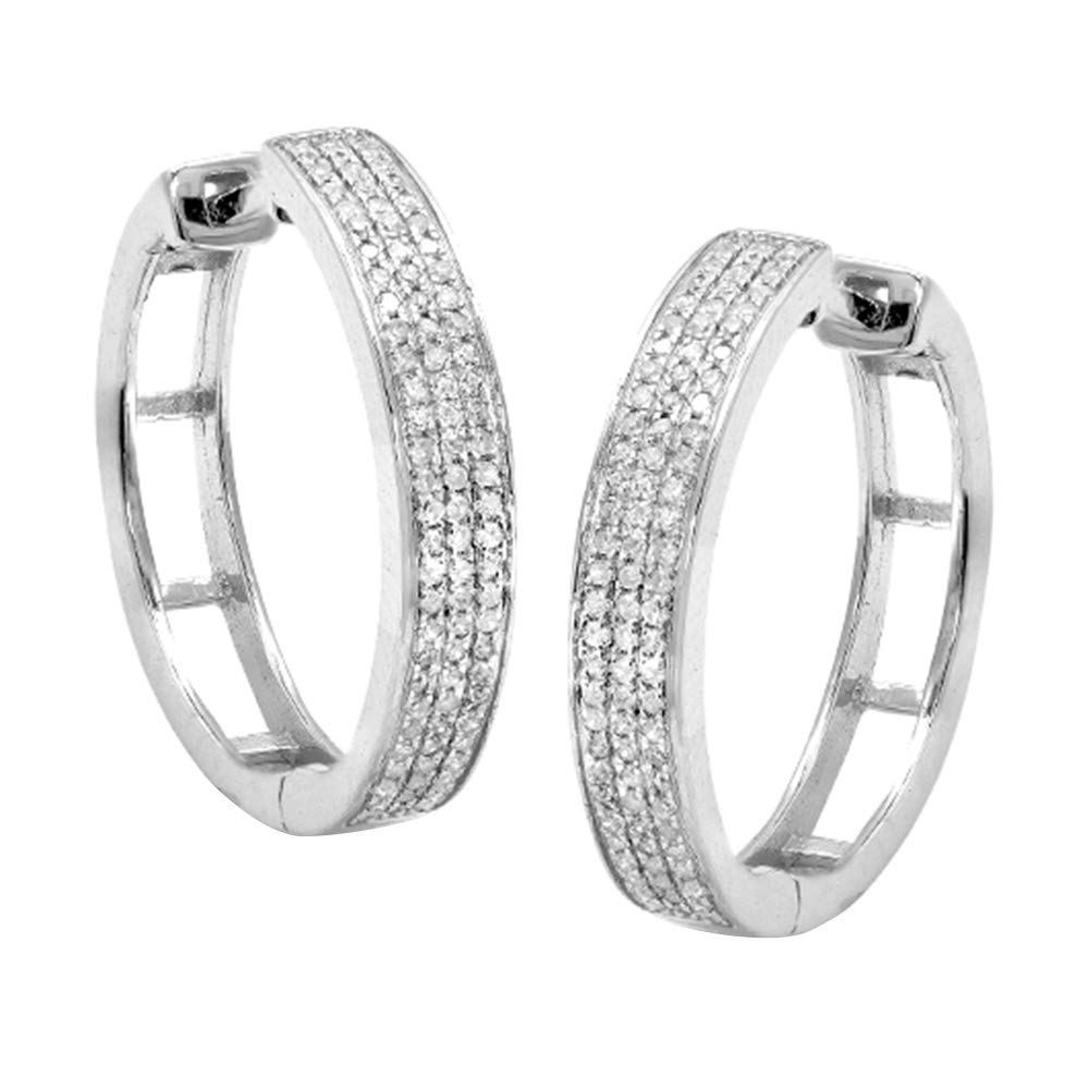 0.33 Ct Round Cut Natural Diamond Three Row Hoop Earrings In Solid 14K White Gold