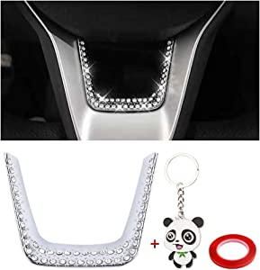 PIFOOG Bling Crystal Accessories Decor for Honda Accord Steering Wheel Accessories Bottom Flame Cover for 10th gen Honda Accord Sedan EX EX-L LX 2018 2019 2020 2021 Silver (Steering Wheel Cover)