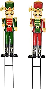 "Nutcracker Christmas Yard Stakes Decorations Set of 2 Metal Soldier Silhouette Stake Outdoor Holiday Lawn Decor Nutcrackers Signs for Xmas Winter Garden Statue Pathway Walkway Driveway 27.5"" Tall"