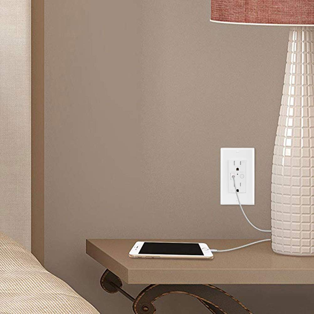 1 Pack KEYGMA USB Charger Outlet in-Wall Outlet with 2 USB Ports 4.2A Ultra-High-Speed Charging 15A Tamper-Resistant Receptacle Charger Electrical Outlet