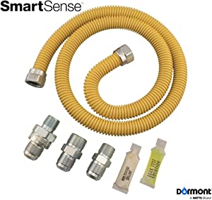 Dormont 0222530 SmartSense Gas Range & Furnace Appliance Connector Kit, 48 In. Long, 5/8 In. Outside Diameter, Yellow Coated