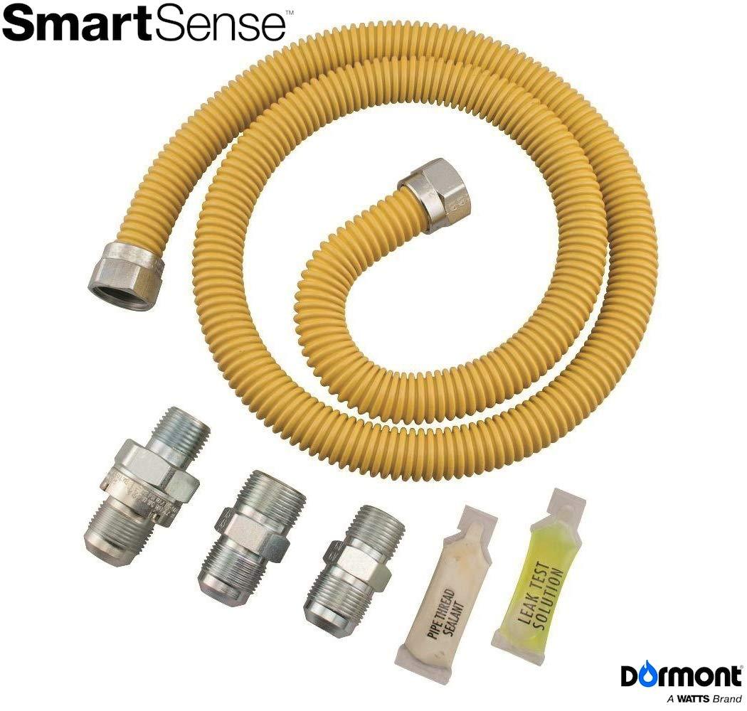 Dormont 0222530 SmartSense Gas Range & Furnace Appliance Connector Kit, 48 in. Long, 5/8 in. Outside Diameter, Yellow Coated