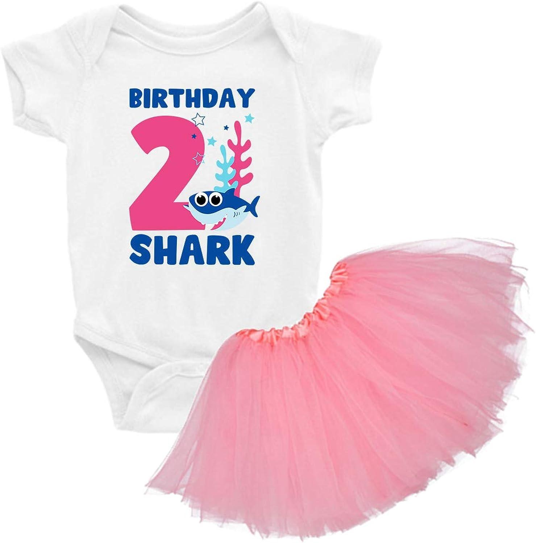 Awkward Styles 2nd Birthday Shirt Tutu Skirt Set Cute Shark Baby Girl Birthday Outfit