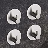 BQTime Towel Hooks 3M Self Adhesive Hooks Key Robe Coat Clothes Bag Hanger Holder, Super Power Heavy Duty, Stainless Steel, Wall Mounted, Waterproof, Kitchen Sink Bathroom Shower Accessories, 4 Pack
