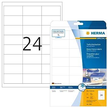 Herma 4389 Tiefkühletiketten für Gefriergut (66 x 33,8 mm auf DIN A4 ...