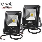 GLW 12V-24V AC or DC LED Flood Light,10W Mini IP65 Waterproof Outdoor Light,900LM,3000K,Warm White Security Light,80W Halogen Bulb Equivalent[2 PACK]