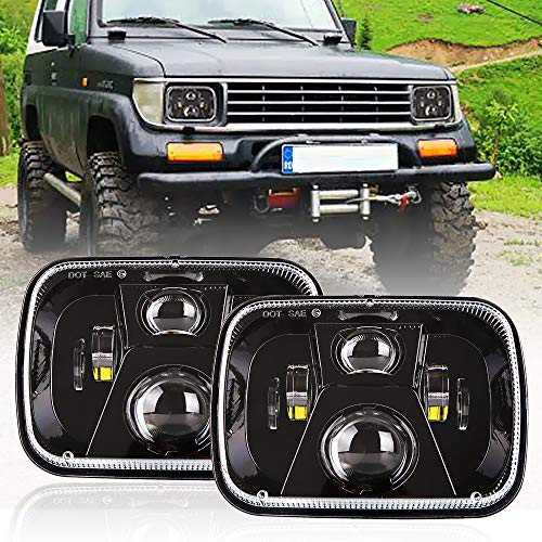 - DOT 110W Rectangular Sealed High Low Beam 5x7 7x6 Inch LED Headlights For Jeep Wrangler YJ Cherokee XJ Comanche MJ GMC Savana Safari Ford Chevrolet Replacement H6014 H6052 H6054 Black