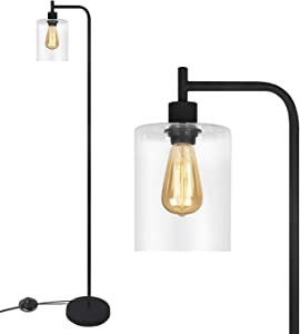 Black LED Floor Lamp, Acaxin Tall Standing Lamp with Hanging Glass Lamp Shade, Simple Industrial Light with Halogen Bulb for Living Room & Bedroom