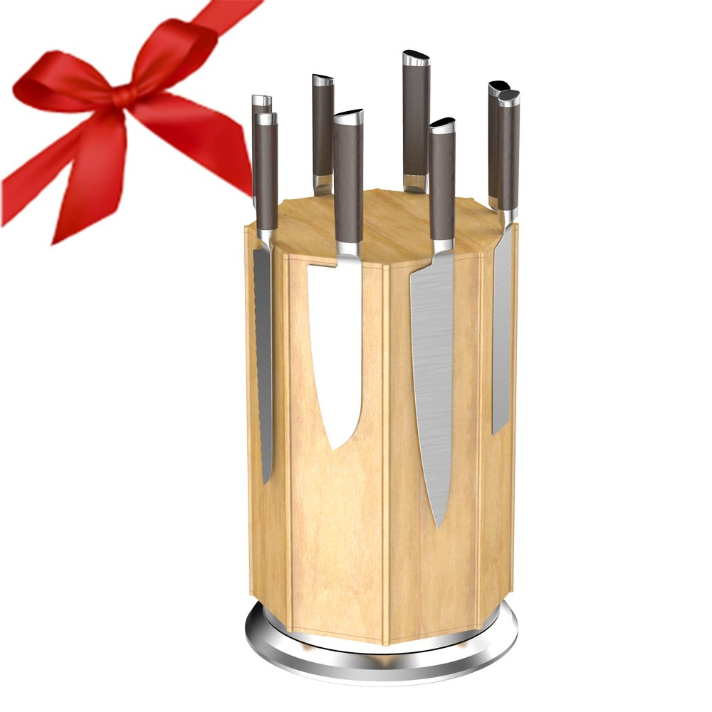 Knife Block,Cuteadoy 360°Rotating Bamboo Magnetic Knife Rack/Holder, Winner of Kitchen Test,with Aluminum Alloy Base and Non-slip Feet, Luxury Gift and Amazing Handicraft (Natural) by cuteadoy