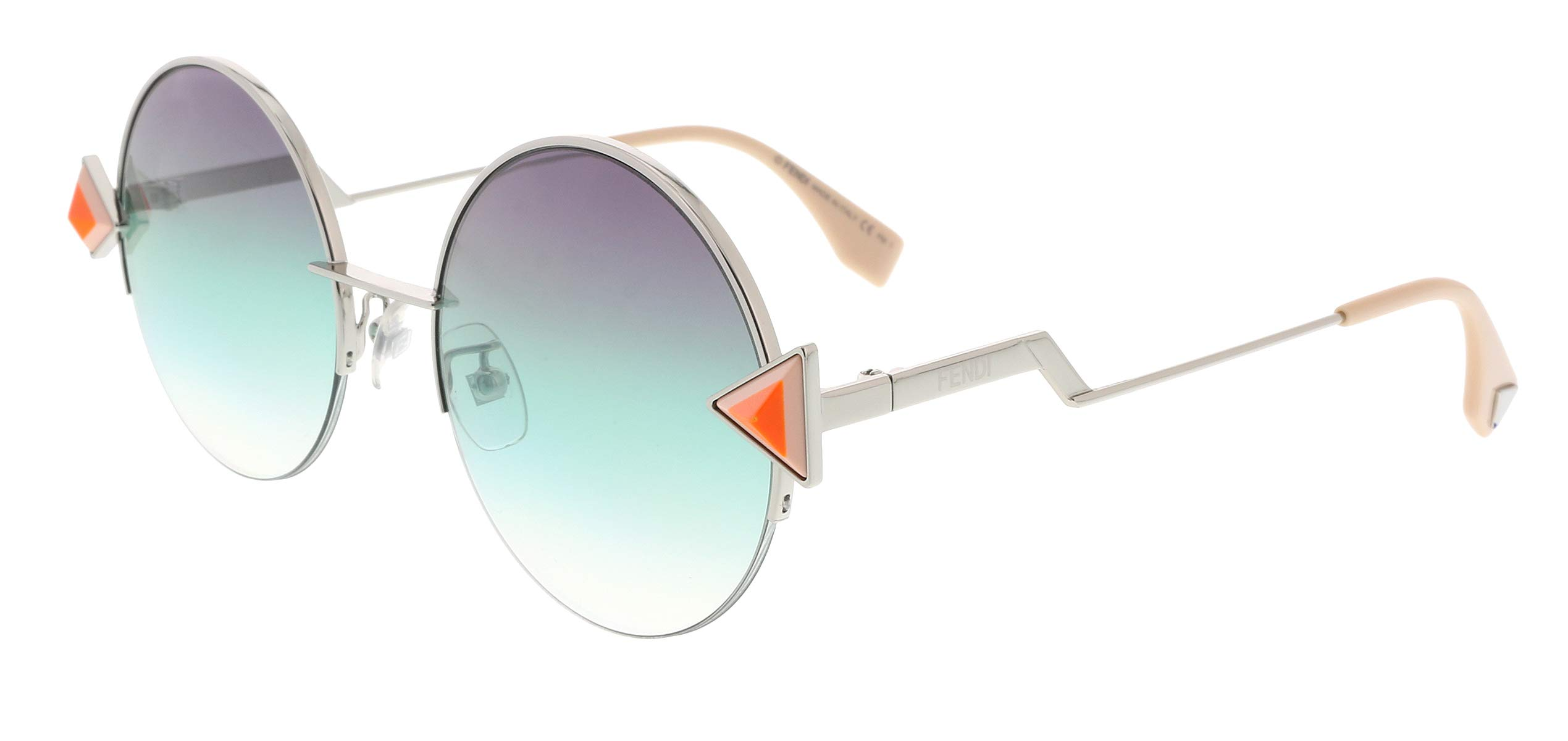 Fendi Round Sunglasses 0VGV Silver Green Frame And  Greenviolet Lens by Fendi