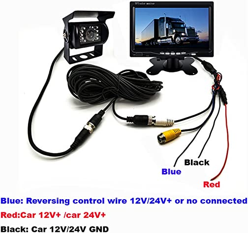 Vehicle Backup Camera with Monitor Kit,18LED IR Night Vision 4 Pin IP68 Waterproof Reverse Rear Camera 7 Car LCD Monitor Parking System 12V-24V With 49ft Extension Cable For Bus Truck Trailer RV Ca