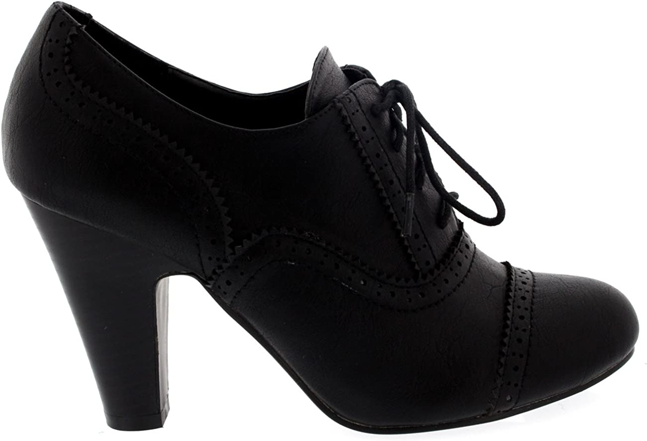 Mujer Mary Jane Abarcas Cordones Tobillo Bota Talones Trabajo Zapatos