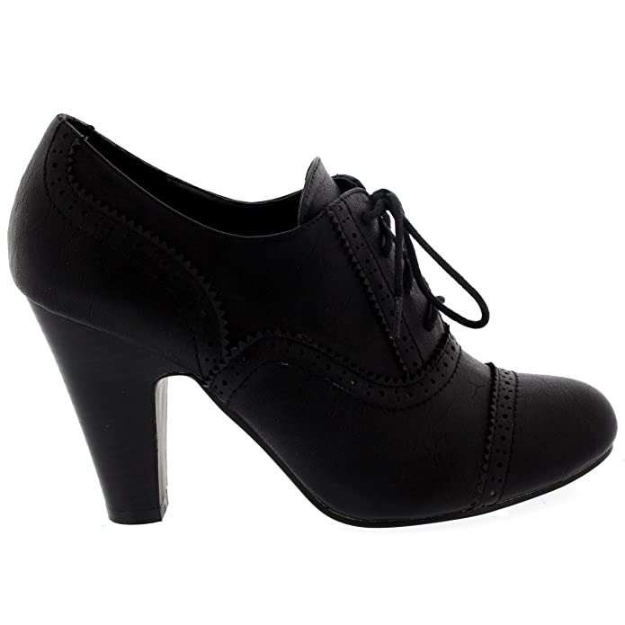5ed475e1c37e Womens Mid Block Heel Lace Up Evening Work Mary Jane Ankle Boot Shoes   Amazon.co.uk  Shoes   Bags